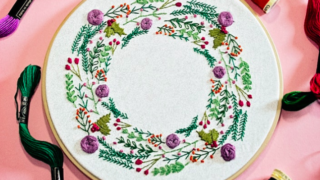 Pixels and Purls Winter Wreath Embroidery Crafternoon Tea Workshop